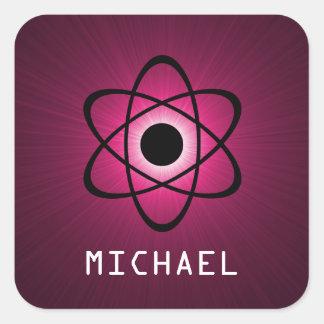 Nerdy Atomic Customizable Stickers, Pink