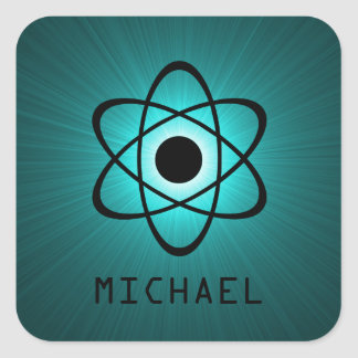Nerdy Atomic Customizable Stickers, Teal Square Sticker