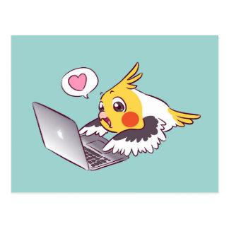 Nerdy cockatiel cute drawing Macbook bird parrot Postcard