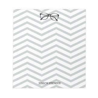 Nerdy Eyeglass Reading Chevron Masculine Notepad