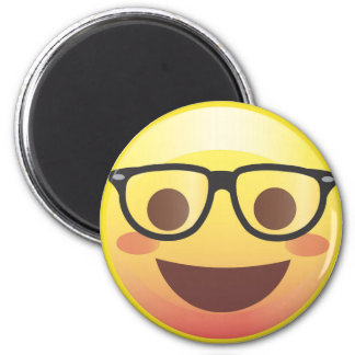 Nerdy Glasses Happy Emoji Magnet