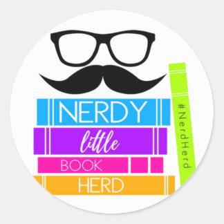 Nerdy Little Book Herd Classic Round Sticker