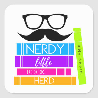 Nerdy Little Book Herd Square Sticker