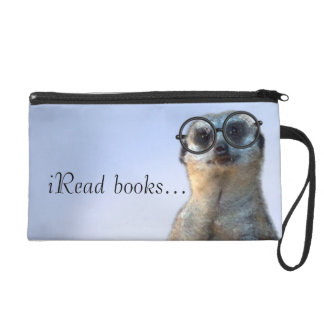 Nerdy Meerkat, hipster, goofy, librarian, funny Wristlet Purses