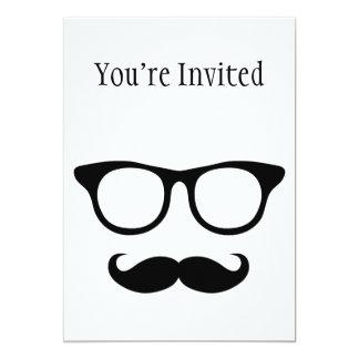 Nerdy Mustache Man 13 Cm X 18 Cm Invitation Card