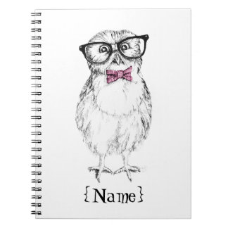 Nerdy Owlet small and smart   ink drawing Notebook