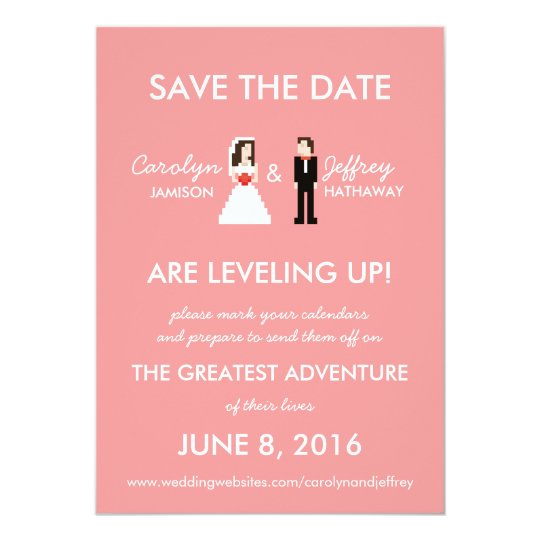 nerdy pink 8 bit bride groom save the dates card zazzle co uk