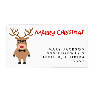 Nerdy Reindeer Christmas Holiday Address Labels