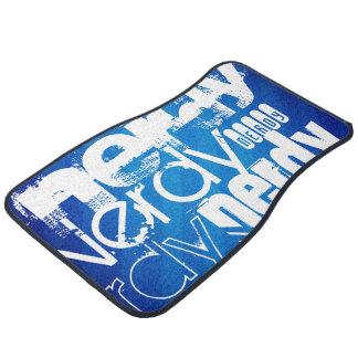 Nerdy; Royal Blue Stripes Floor Mat