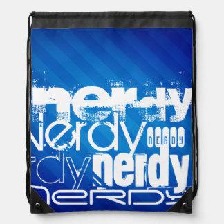 Nerdy; Royal Blue Stripes Drawstring Backpacks