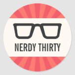 Nerdy thirty birthday party with geeky glasses sticker