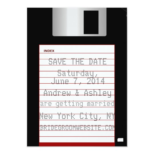 Nerdy Wedding Save The Date Floppy Disc Card
