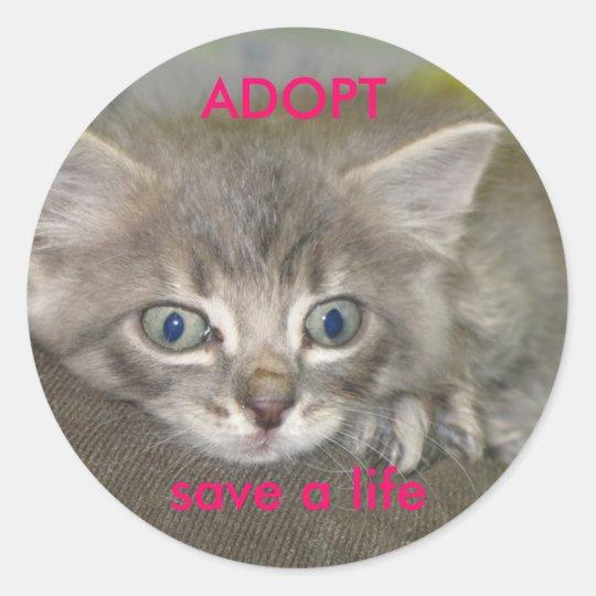 nermil, save a life, ADOPT Classic Round Sticker