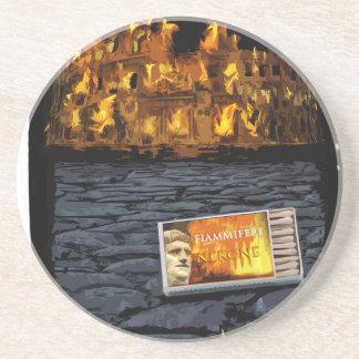 Nero burning Rome, with matches.. Coaster