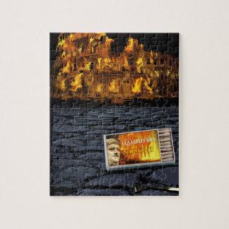 Nero burning Rome, with matches.. Jigsaw Puzzle
