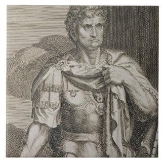 Nero Claudius Caesar Emperor of Rome 54-68 AD engr Large Square Tile