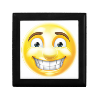 Nervous Grin Emoji Emoticon Small Square Gift Box