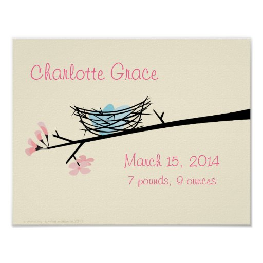 Nest and Blossoms Personalised Nursery Poster