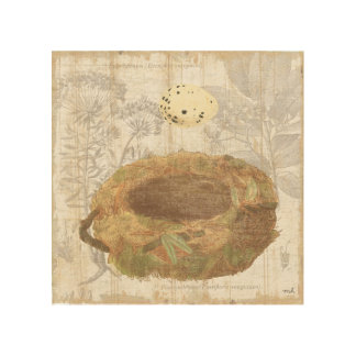 Nest with Speckled Egg Wood Print