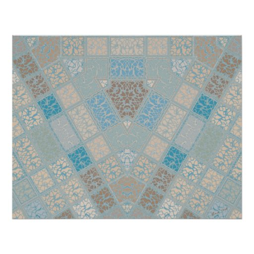 Nested Triangles Digital Mosaic in beige and blue Posters
