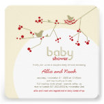 Nesting Birds Family Tree Couples Baby Shower Custom Announcements