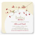 Nesting Birds Family Tree Couples Baby Shower Custom Announcements