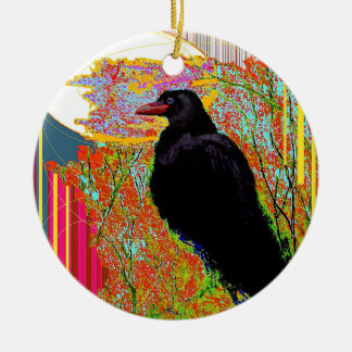 Nesting Red-billed Crow Abcstact Gifts Christmas Ornament