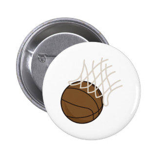 Net and Basketball 6 Cm Round Badge
