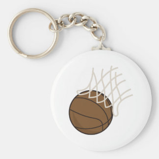 Net and Basketball Basic Round Button Key Ring