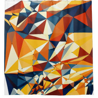 Net of multicolored triangles shower curtain
