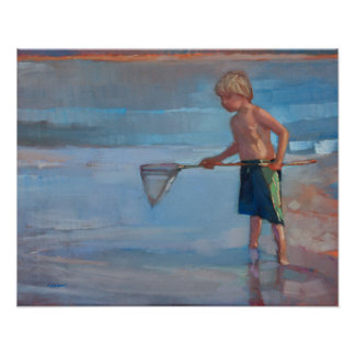 Net Working - Boy with Net at Beach Poster