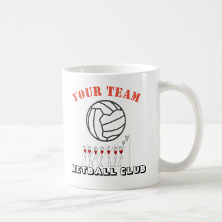 Netball Ball Themed Team Name Personalised Coffee Mug
