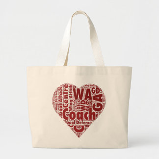 Netball Coach and Positions Heart Design Large Tote Bag