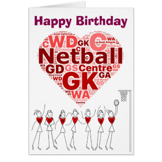 Netball Heart Positions Happy Birthday Card