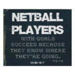 Netball Players with Goals Succeed in Denim Poster