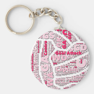 Netball Positions Ball Design Basic Round Button Key Ring