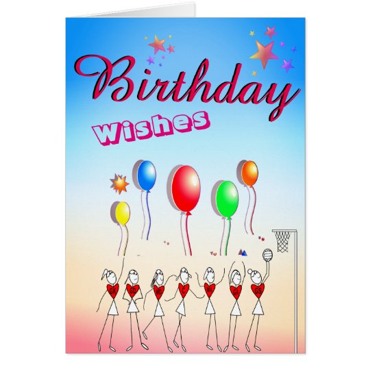 Netball Positions Blank Birthday Greeting Card