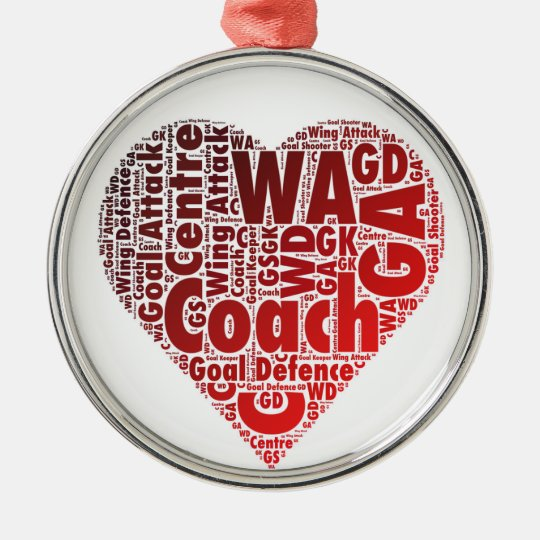Netball Positions Heart Design Christmas Ornament