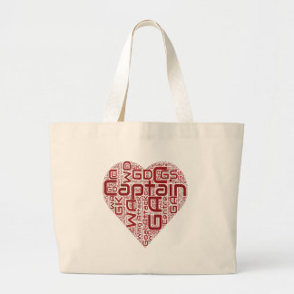 Netball Positions Heart Design Large Tote Bag
