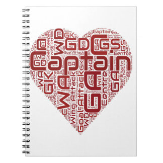 Netball Positions Heart Design Notebook