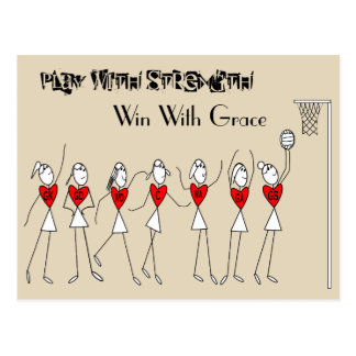 Netball Positions Stick Figures With Quote Postcard