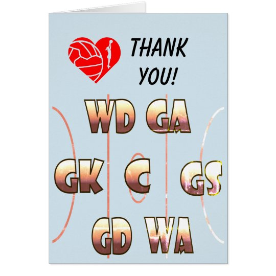 Netball Positions Themed Coach Thank You Card