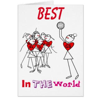 Netball Stick Figures Heart Design Card