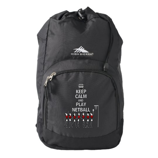 Netball Team Keep Calm and Play Quote Backpack