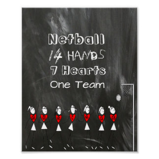 Netball Team Positions Stick Figures and Quote Poster