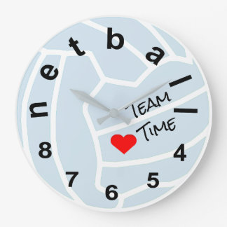 Netball Team Time Typography Ball Design Large Clock