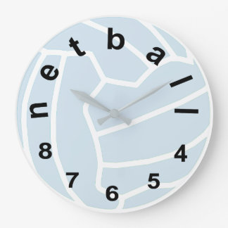 Netball Typography Ball Design Large Clock