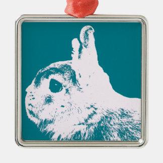 Netherland dwarf rabbit teal christmas ornament