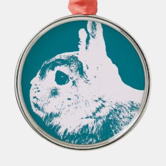 Netherland dwarf rabbit teal Silver-Colored round decoration