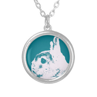 Netherland dwarf rabbit teal silver plated necklace